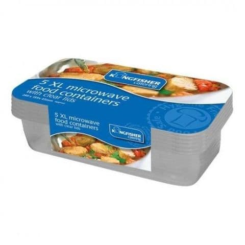 1350ml Medium Plastic Microwave Food Containers & Lids - Kingfisher Catering (Pack of 5)