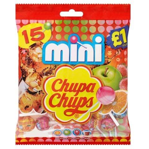 15 x Mini Chupa Chups Lollipop Sweets Lollies Bag 90g