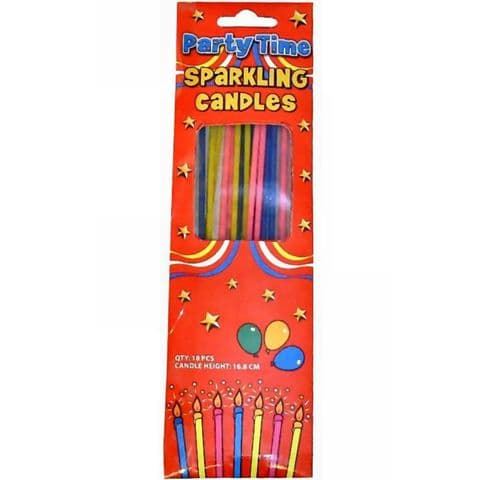 18 x Extra Long Sparkling Candles For Birthday Cakes Henbrandt (Pack of 1)