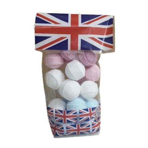 20 x Mini Marbles Fizzers Union Jack Gift Bag Bath Bubble & Beyond 200g