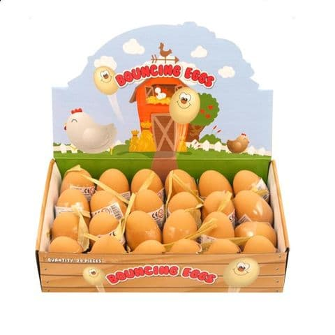 24 x Bouncy Egg Rubber Balls - Fake Eggs - Easter Wholesale Bulk Buy