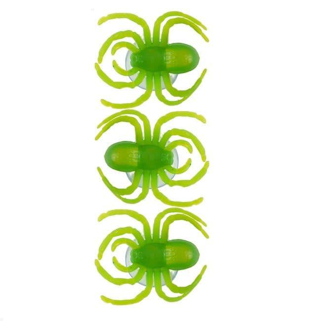 24 x Spiders Window Suckers Packs of 3 - Spooky Green Halloween Fun (72 Total)