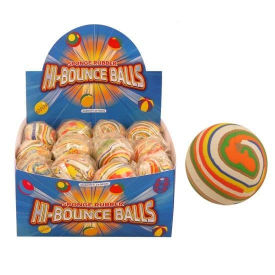 24 x Stripy - Hi Bounce Hard Sponge Rubber Bouncy Ball Dog Toy - Wholesale Box