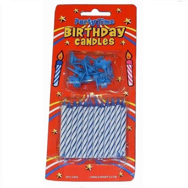 24 x Blue Birthday Cake Candles & 12 Holders