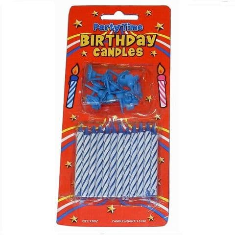 24 x Blue Birthday Cake Candles & 12 Holders