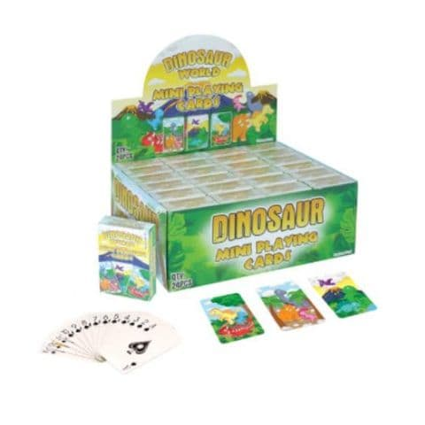 24 x Dinosaur World Themed Mini Packs Playing Cards - Wholesale Bulk Buy Party Bag Fillers