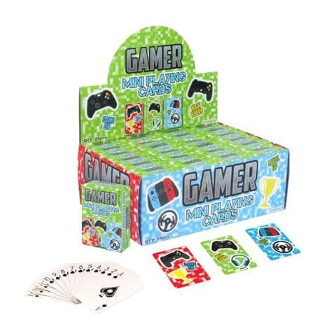 24 x Gamer Themed Mini Packs Playing Cards - Wholesale Bulk Buy Party Bag Fillers