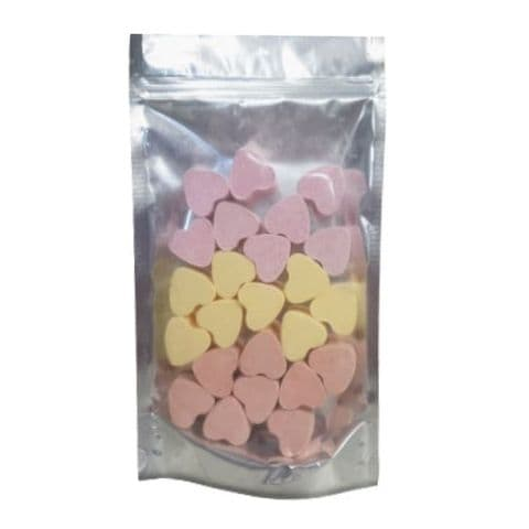 24 x Lemon Mango Strawberry Mini Hearts Fizzers Bath Bubble & Beyond 10g