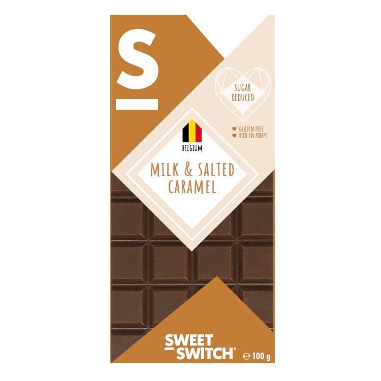 34% Milk & Salted Caramel Belgian Chocolate Bar No Added Sugar Gluten Free Stevia Sweet Switch 100g