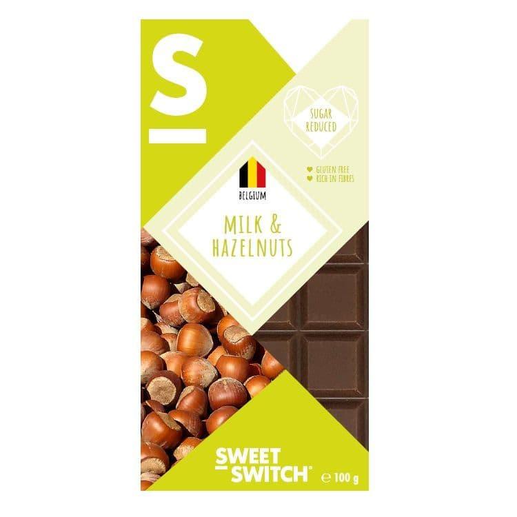 36% Milk & Hazelnuts Belgian Chocolate Bar No Added Sugar Gluten Free Stevia Sweet Switch 100g