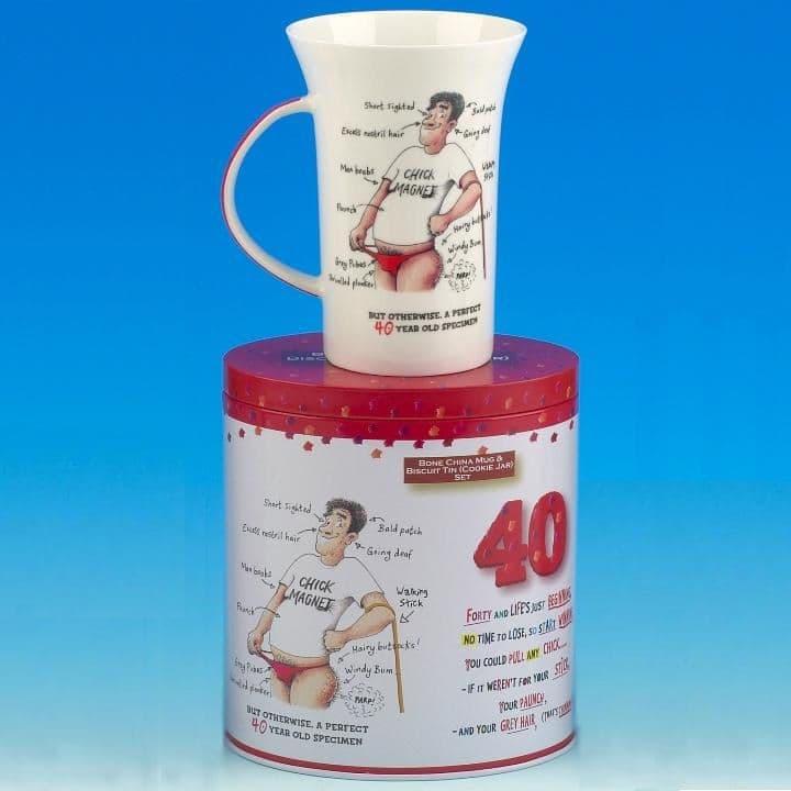 40 For HIM - Funk Tart - Witty Mug & Metal Biscuit Tin / Cookie Jar Gift Set
