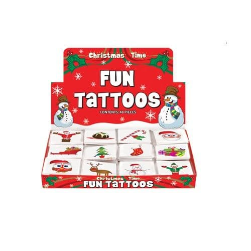 48 x Christmas - Packs of 12 Mini Tattoos Wholesale Box
