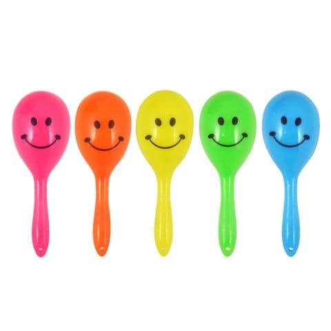 5 x Mini Neon Maracas Smile Face Children's Music Noise Maker Party Bag Toys Henbrandt