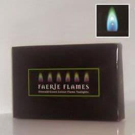 6 x Green Faerie Flames Tealights Candles Tea Lights