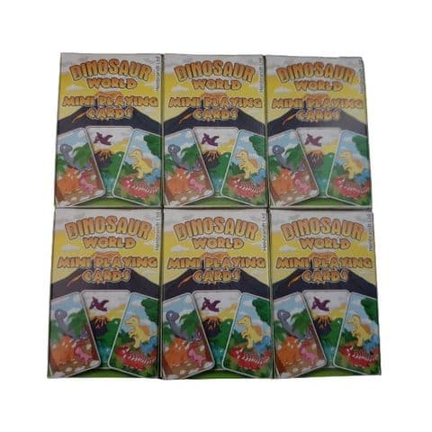 6 x  Dinosaur World Themed Mini Packs Playing Cards Henbrandt