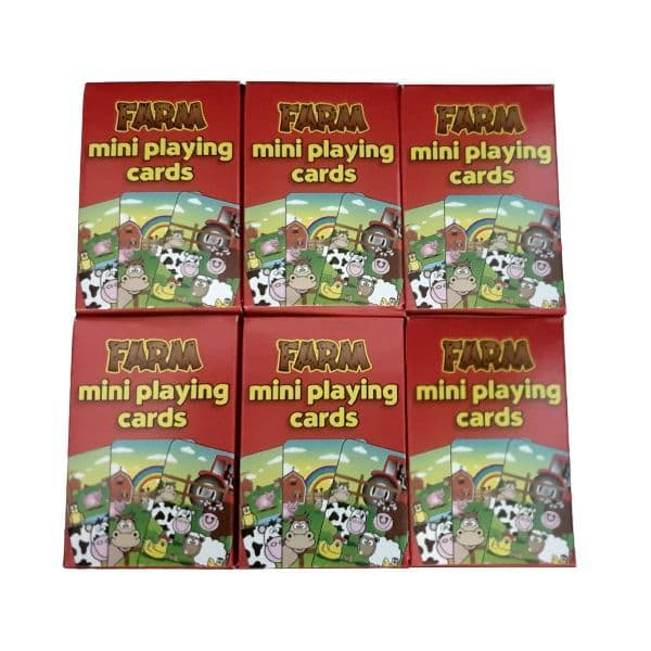 6 x  Farm Animals Themed Mini Packs Playing Cards Henbrandt