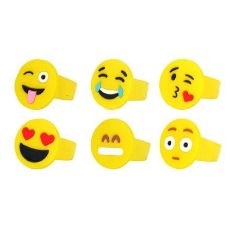 6 x Smile Emoji Faces Silicon Rings Stocking Filler Henbrandt