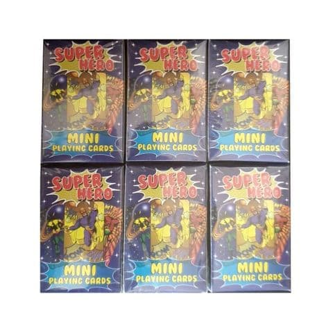 6 x  Super Hero Themed Mini Packs Playing Cards Henbrandt