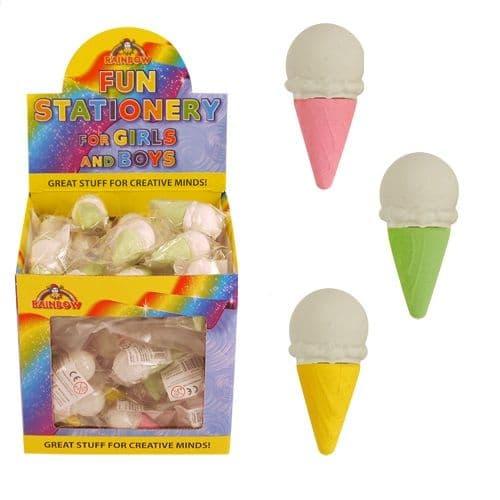 60 x Ice Cream Cone - Novelty 3D Erasers Rubbers - Wholesale Bulk Buy