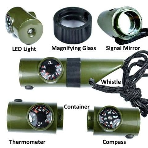 7 In 1 Survival Torch Whistle Compass Magnifier Mirror Thermometer Container