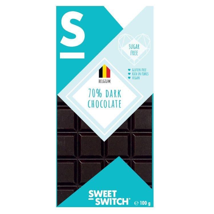 70% Dark Belgian Chocolate No Added Sugar Vegan Gluten Free Stevia SWEET SWITCH 100g