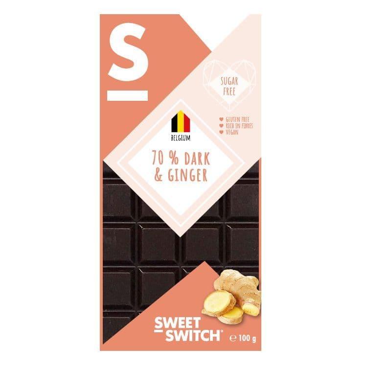 70% Dark & Ginger Belgian Chocolate Bar No Added Sugar Vegan Gluten Free Stevia SWEET SWITCH 100g