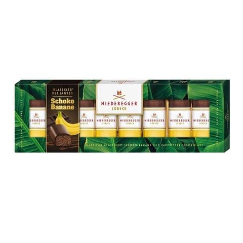 8 x Choco Banana Dark Chocolate Marzipan Mini Loaves Niederegger 100g