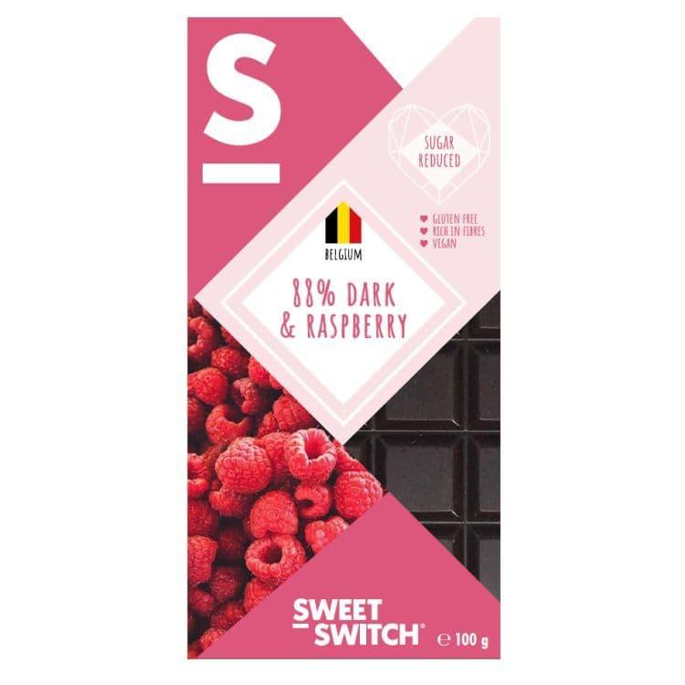 88% Dark & Raspberry Belgian Chocolate Bar No Added Sugar Vegan Gluten Free Stevia Sweet Switch 100g