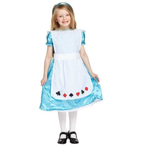 Age 10-12 Large GIRLS Childs Alice Wonderland Fancy Dress Costume