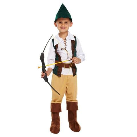 Age 7-9 Medium BOYS Childs Hunter Robin Hood Fancy Dress Costume