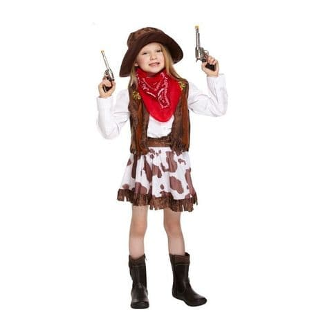 Age 7-9 Medium GIRLS Childs Cowgirl Wild WIld West Fancy Dress Costume
