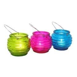 BEEHIVE GLASS LANTERN - Shearer Candles - Tealight Holder - PINK, BLUE or GREEN