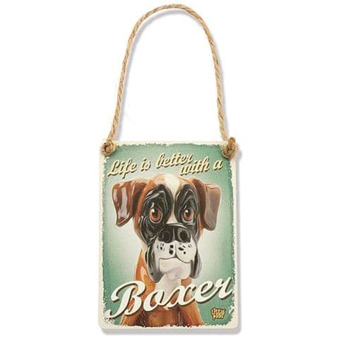 BOXER - Fun Dog Breed Metal Dangler Sign by Little Paws
