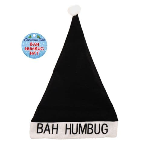 Bah Humbug Black & White Christmas Felt Hat With Bobble - Adults Size