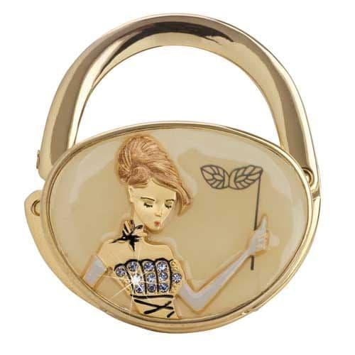 Beige Glass Slipper GOLD - Handbag Hook / Hanger - Yvette Jordan Vanity Fair by Arora Design