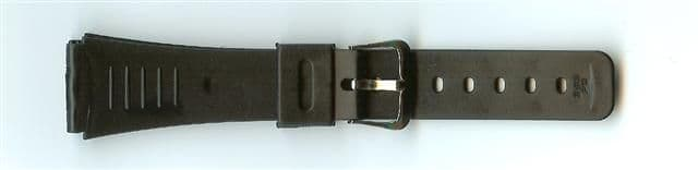 Black Rubber Value Watch Strap 20mm (Silver Buckle)