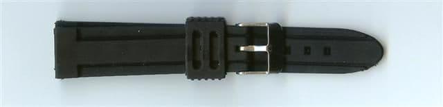 Black Rubber Watch Strap 18mm (Silver Buckle)