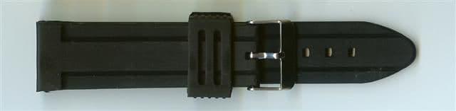Black Rubber Watch Strap 24mm (Silver Buckle)