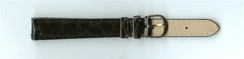 Black Skin Print Leather Watch Strap 14mm (Silver Buckle)