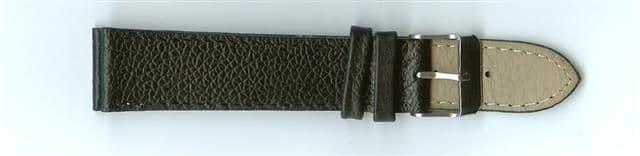 Black Skin Print Leather Watch Strap 20mm (Silver Buckle)