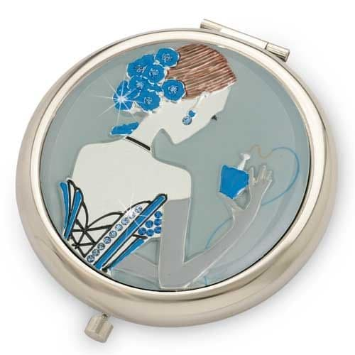 Blue Madamoiselle SILVER - Pretty Crystal Mirror Compact - Yvette Jordan by VANITY FAIR