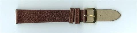 Brown Skin Print Leather Watch Strap 16mm (Gold Buckle)