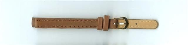Brown Skin Print Leather Watch Strap 8mm (Gold Buckle)