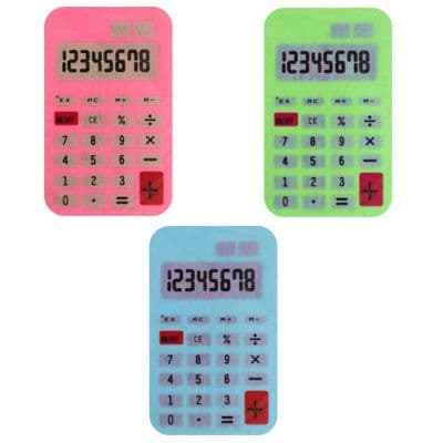 Calculator - Novelty Erasers Rubbers PINK GREEN or BLUE
