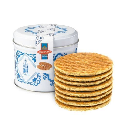 Caramel Wafers Waffles Biscuits Stroopwafels In Delft Blue Gift Tin Daelmans 230g