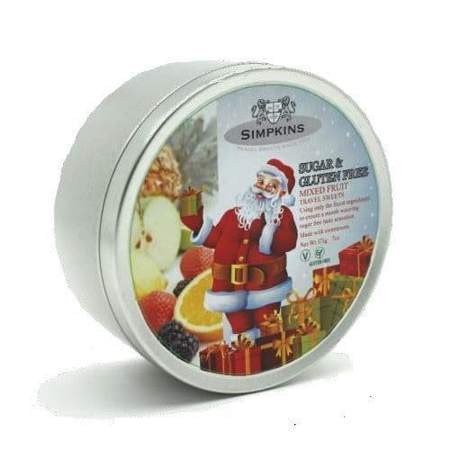 Christmas Edition Mixed Fruit Sugar & Gluten Free - Simpkins Traditional Travel Sweets Tin 175g