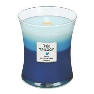 Clothesline Fresh Trilogy WoodWick Candles 10oz (Linen Cotton Flower Cashmere)