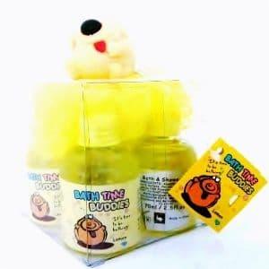 DOG Yellow Scrunchie & LEMON Scented Shower Gels Bath Time Buddies Gift Set