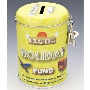 EXOTIC HOLIDAY FUND - Money Savings Tin & Padlock