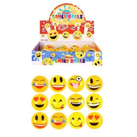 Emoji Smile Face Splat Ball - Squidgy Throwing Toy Yellow